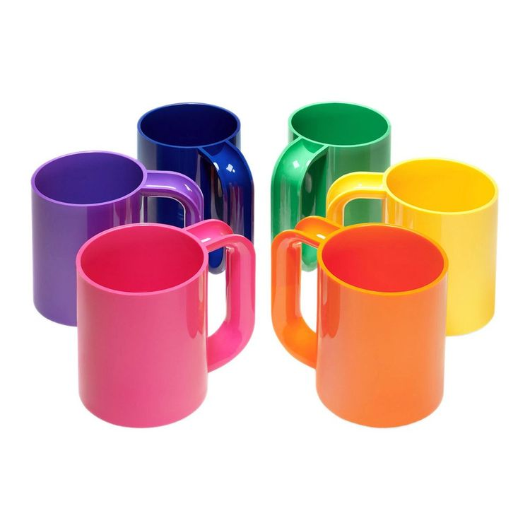 Colorful set of six melamine mugs