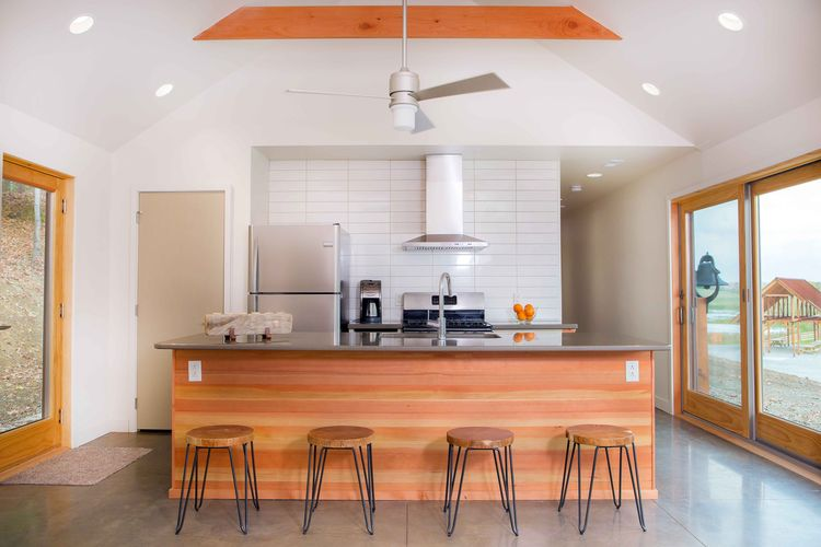 Off the grid retreat with a Douglas fir kitchen island
