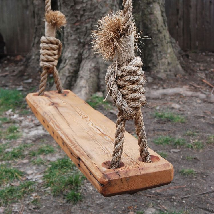 Retro tree swing made from reclaimed wood