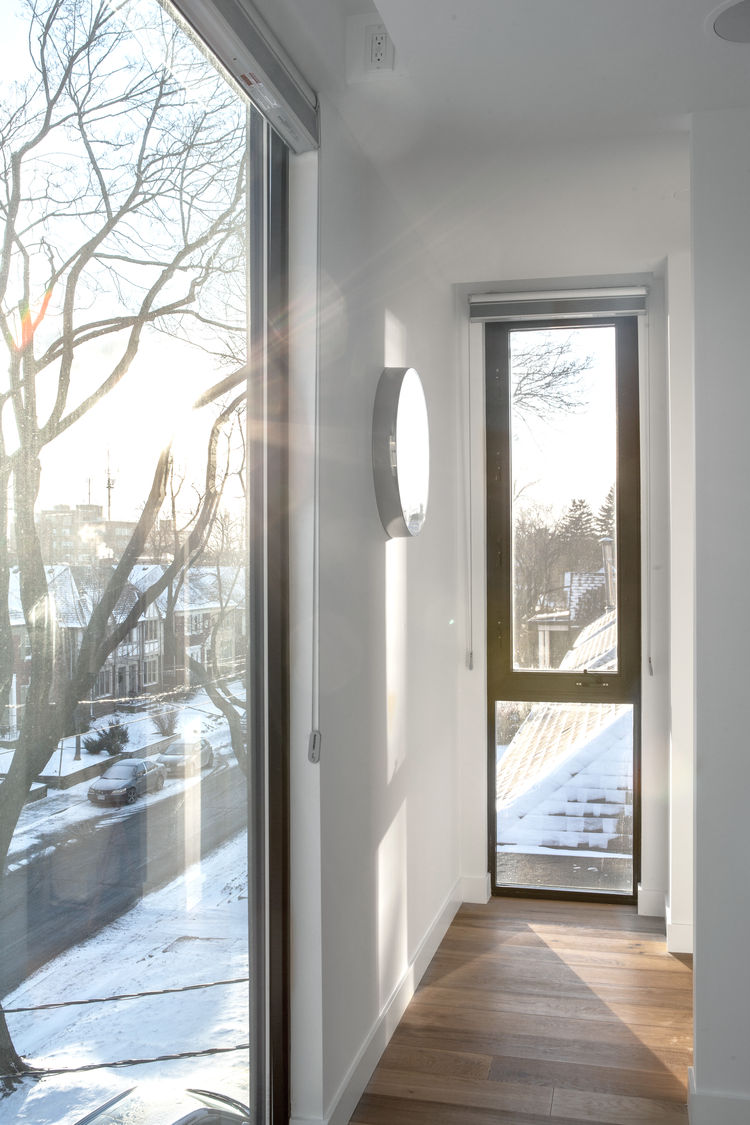 Midtown Triplex Renovation master bedroom windows, Toronto