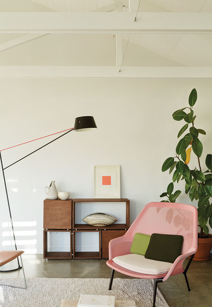 New Zealand living area with a Ronan and Erwan Bouroullec for Vitra chair and floor lamp