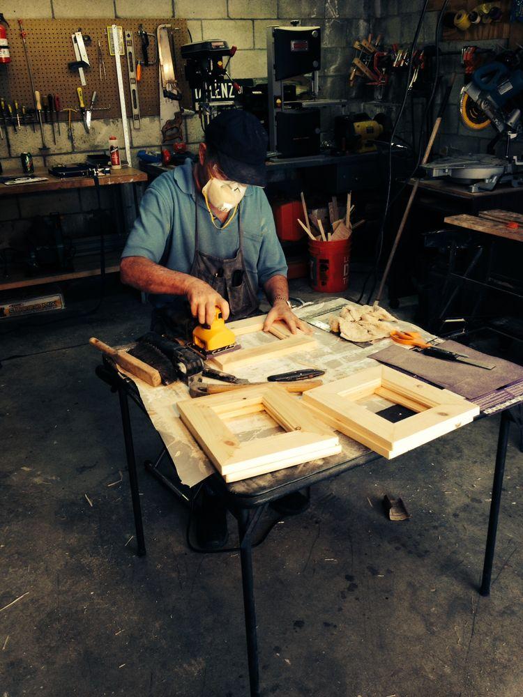 Monkees singer Micky Dolenz at his furniture workshop.
