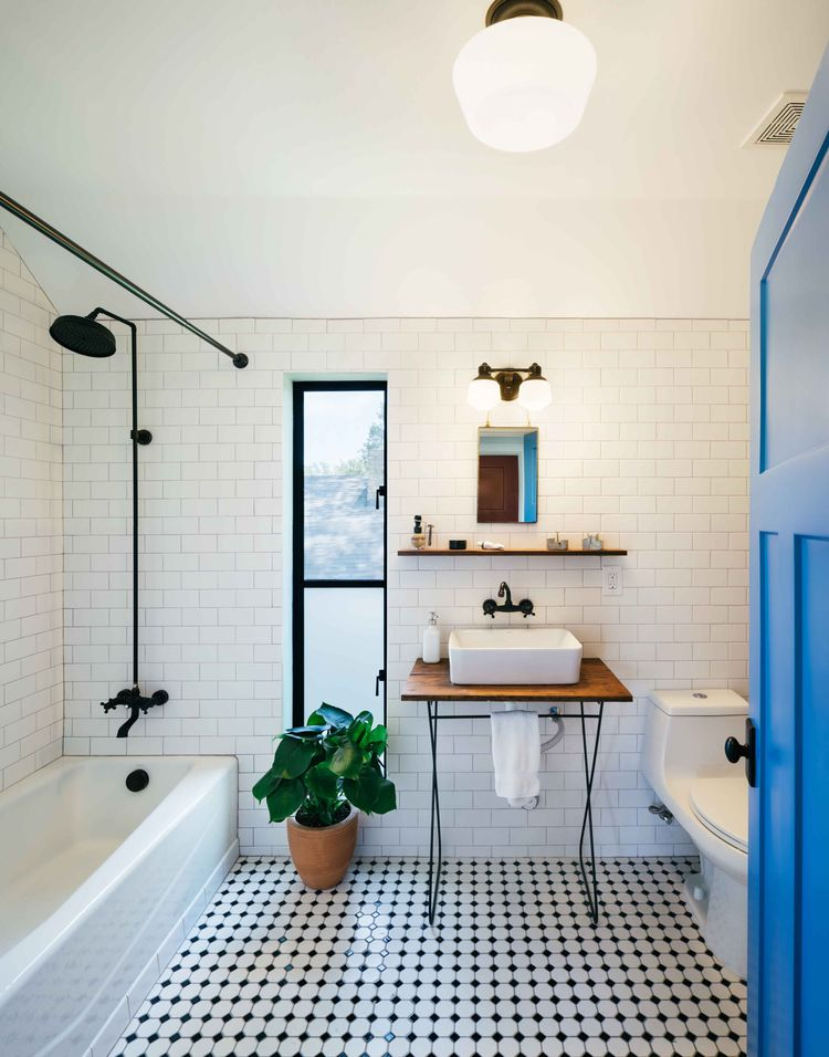Austin bathroom with checkered floor tile