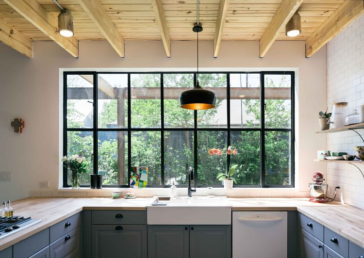Austin kitchen with large window and Ikea cabinets