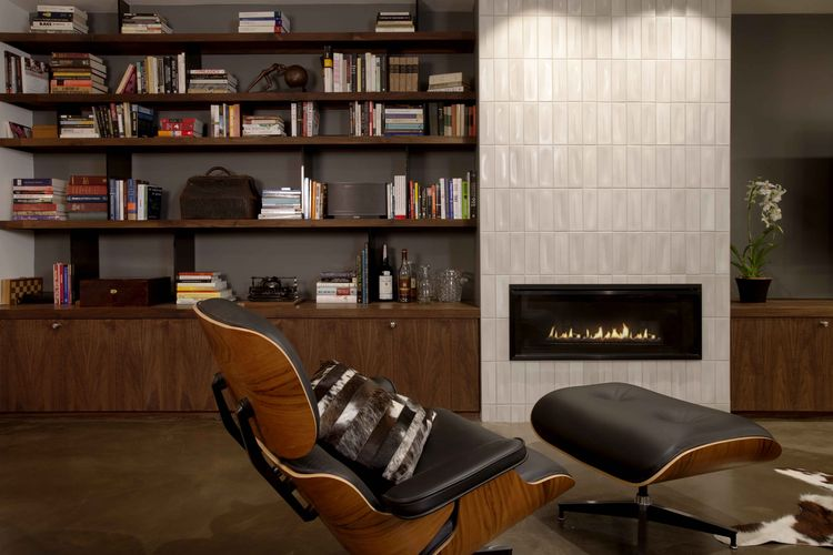 San Francisco den with Eames chair and fireplace