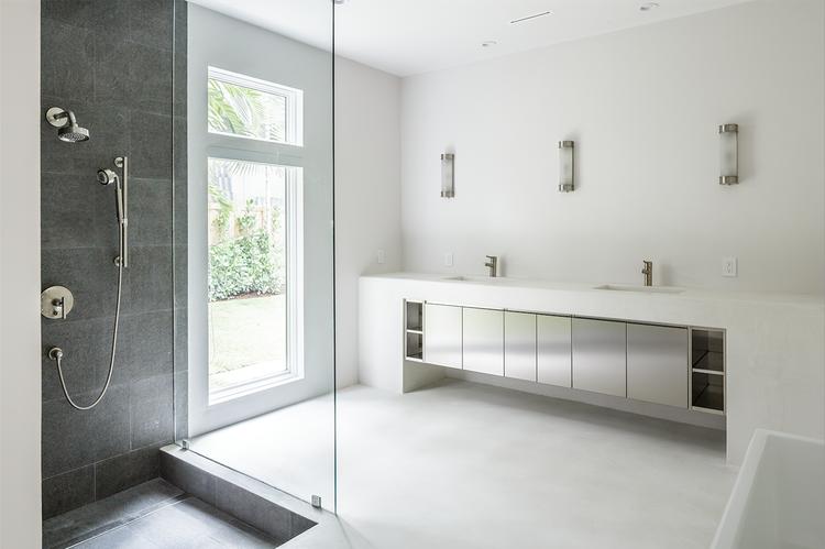 Mooring residence concrete bathroom.