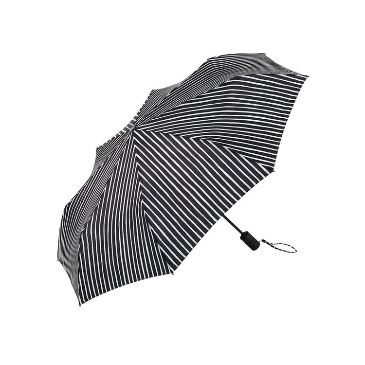 Black and white striped umbrella with sturdy frame
