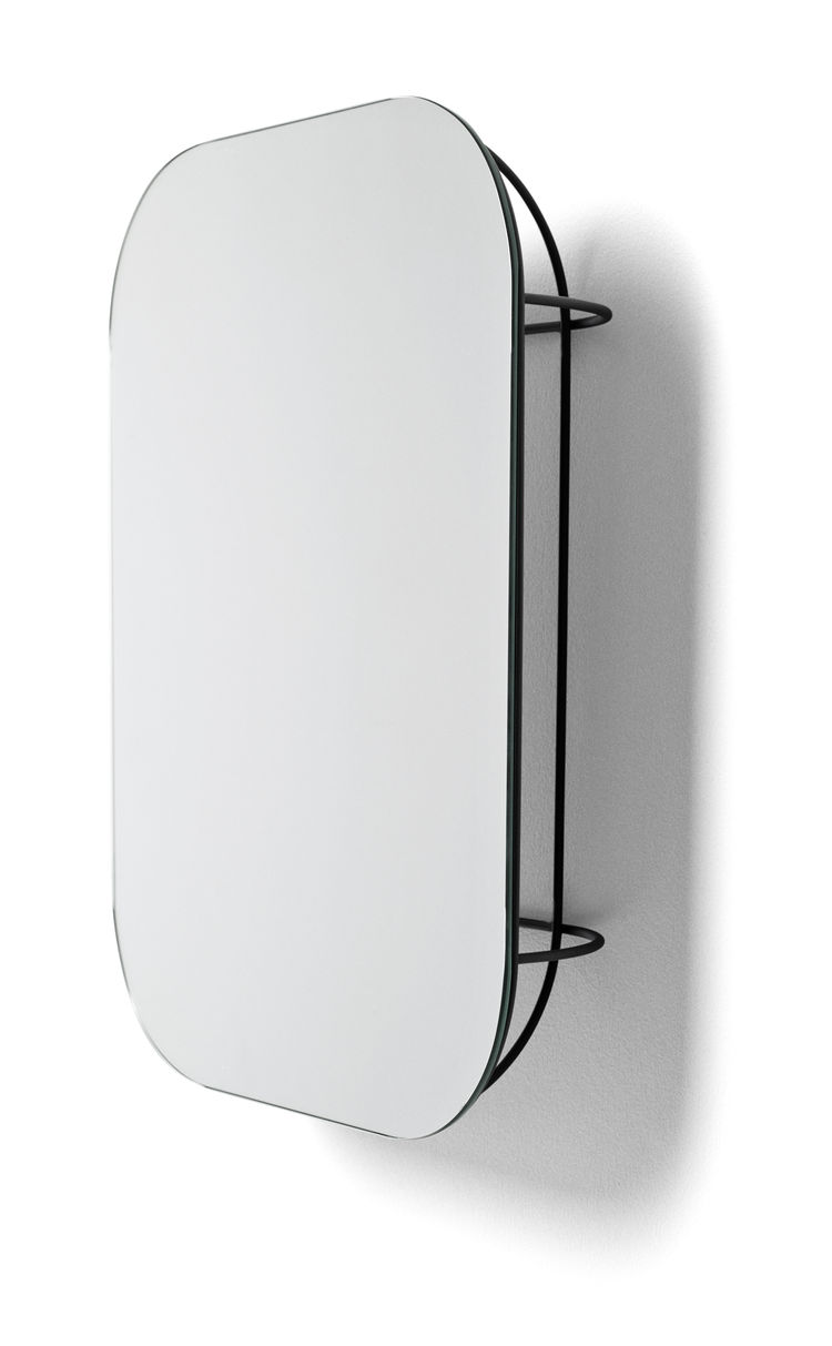 Distinctive wall mirror with wire cage backing