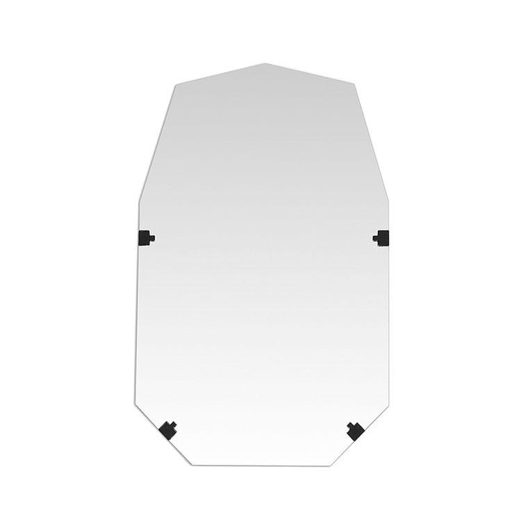 Geometric frameless mirror with hemp backing