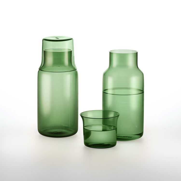Colorful carafe set designed for a nightstand