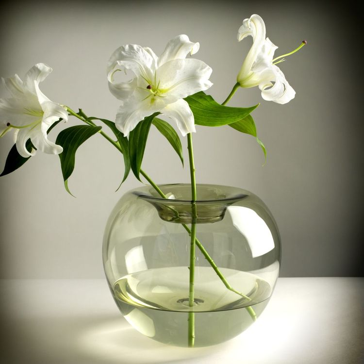 Sculptural vase made from handblown glass