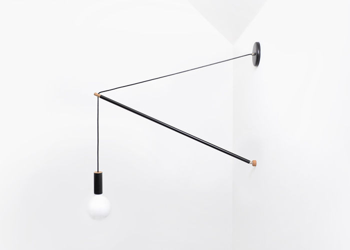 Adjustable wall lamp made by Andrew Neyer in Ohio