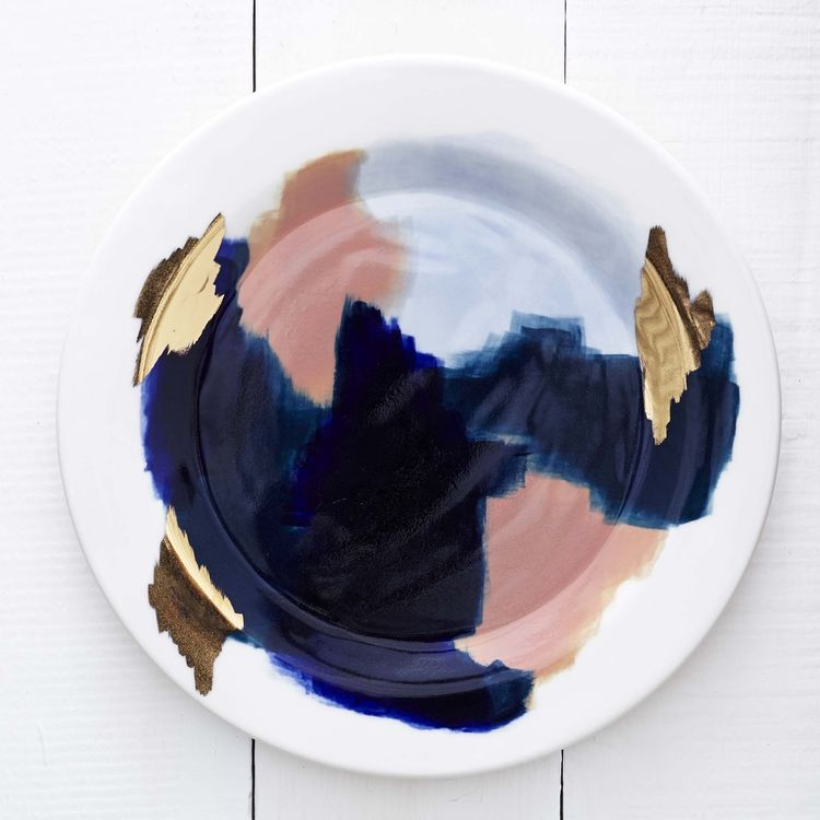 Painted porcelain dish made by Redraven Studio in Pittsburgh