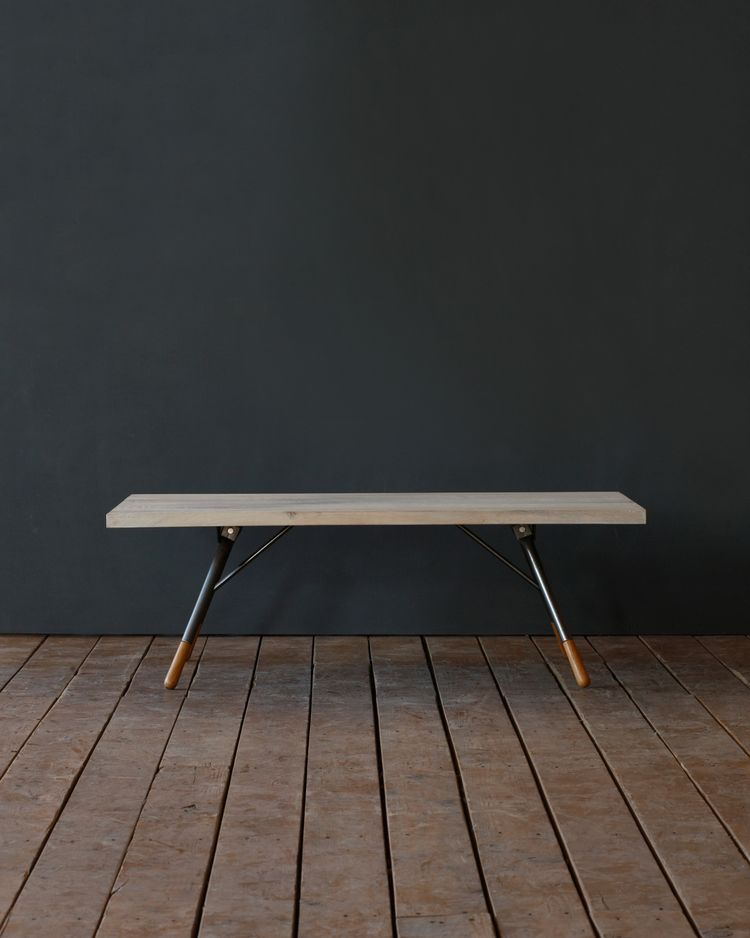 Industrial table comprised of oak and steel