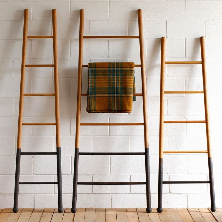 Industrial decorative ladders with oxidized finish