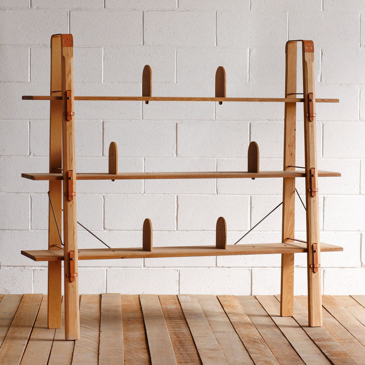 Rustic shelving system with detachable bookends