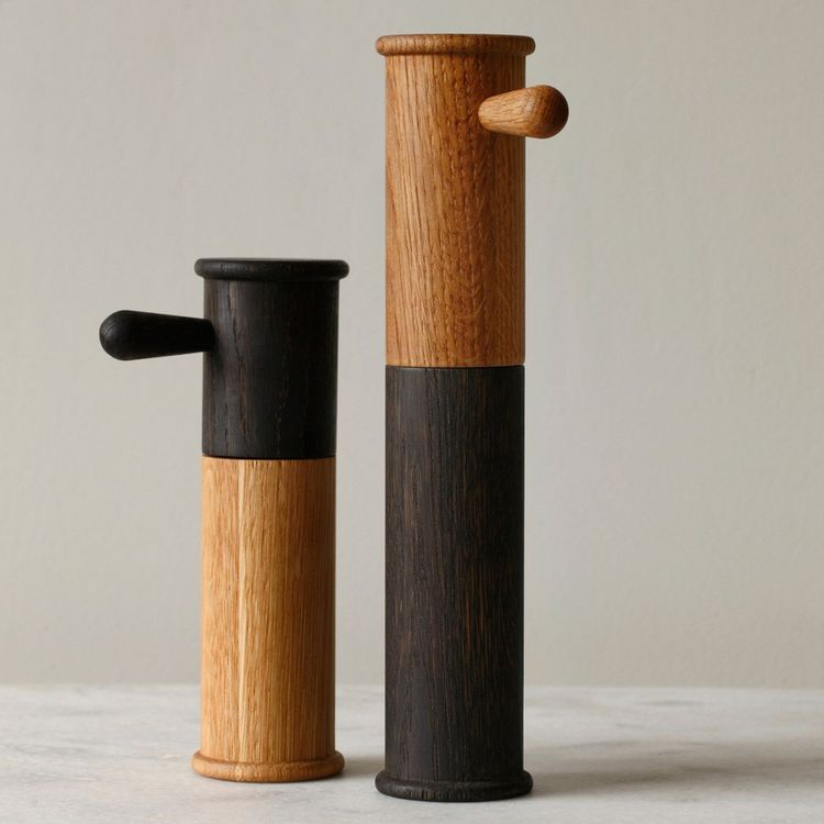 Distinctive salt and pepper mills with oxidized finish