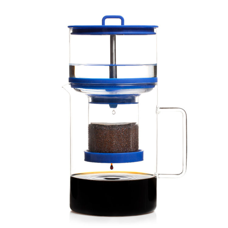 Innovative home cold brew coffee maker with food grade silicone accents