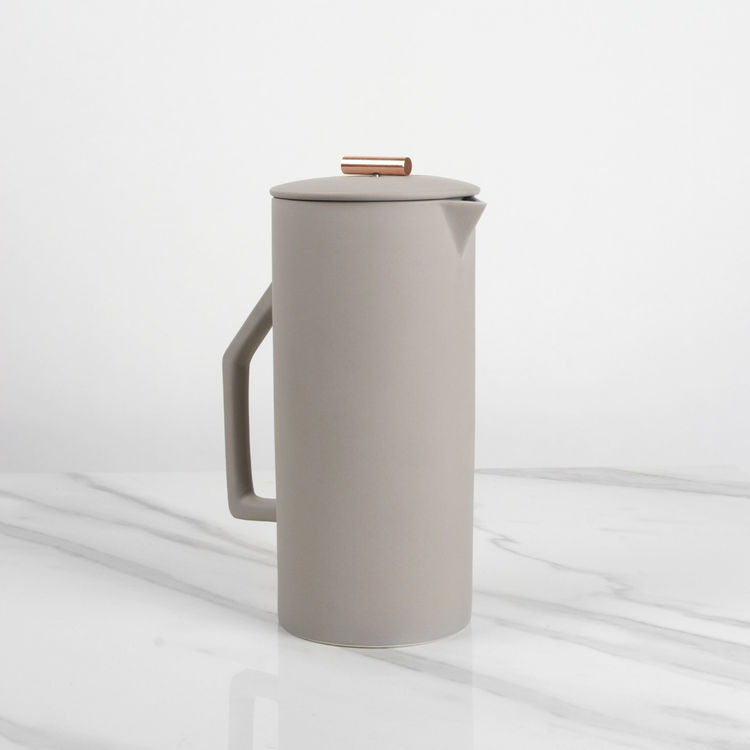 Refined ceramic french press coffee maker with copper accent