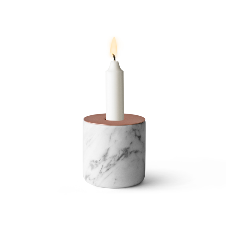 Copper and marble candleholder with cylindrical shape