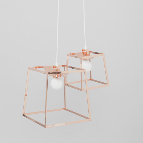Refined copper pendant with geometric frame