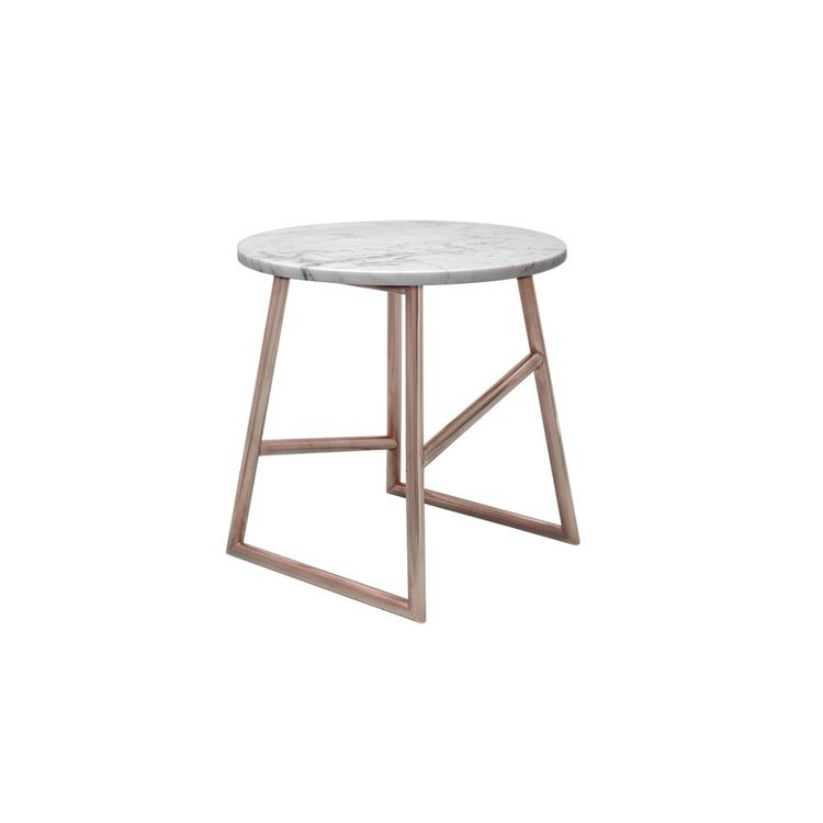 Elegant side table with marble and copper accents
