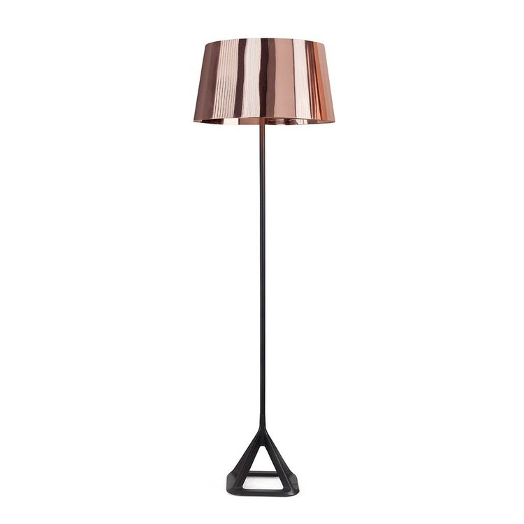 Refined floor lamp with spun copper lampshade