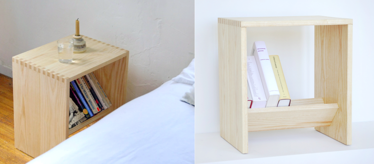 Wood crate nightstand with book storage