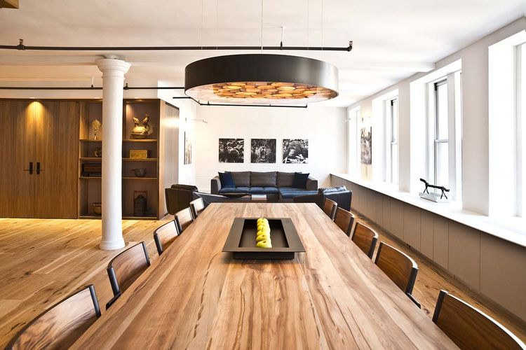 Flatiron loft with counter-height dining table