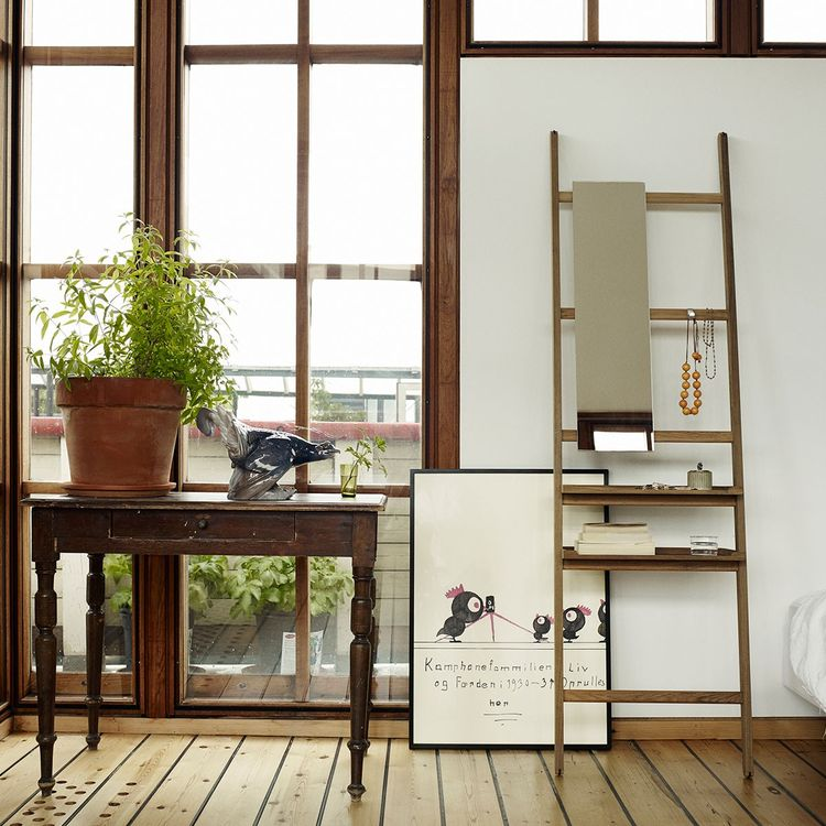 Wood ladder with shelving