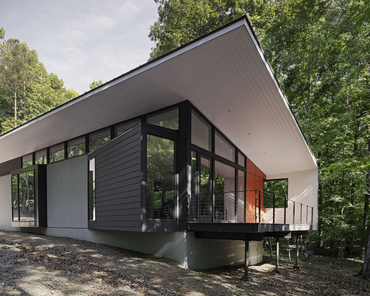 Durham, North Carolina home with red Hardie Panel on the exterior