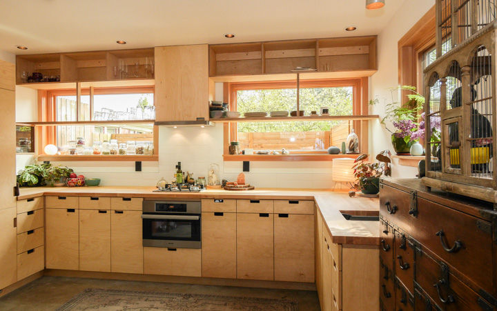 Small Portland kitchen with plywood cabinets and oak countertops