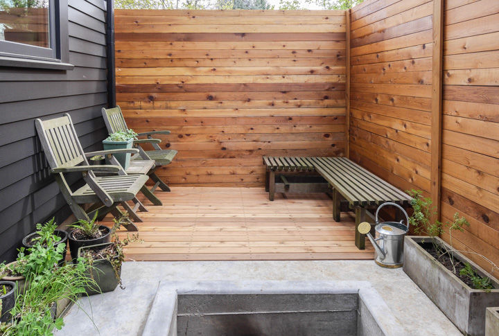 Small patio with raised bed vegetable gardening in Portland