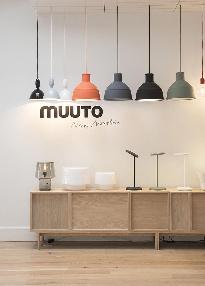 Muuto Copenhagen headquarters lighting display.