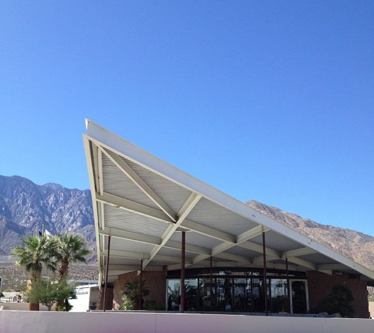 Palm Springs tramway, designed by Pierre Frey and Robson Chambers.