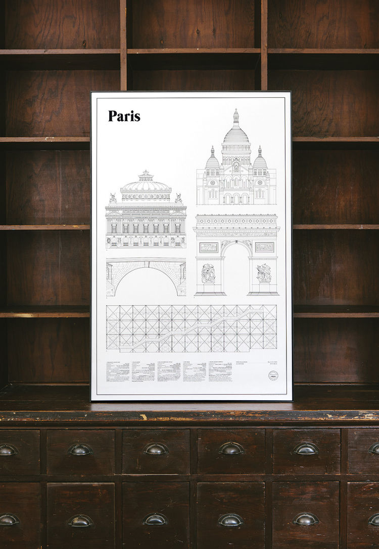 Architectural drawing of five important buildings and landmarks in Paris, France