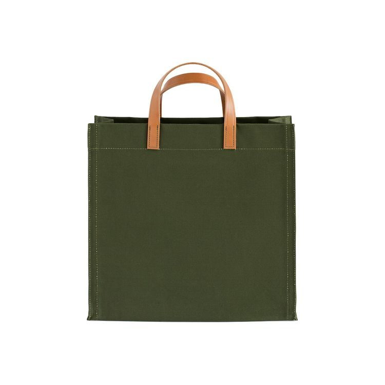 Classic tote with square silhouette and leather handles