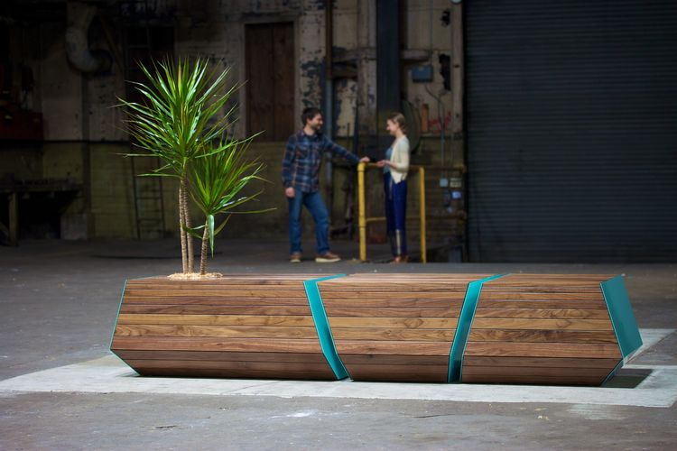 Handcrafted Boxcar bench made in Portland by Revolution Design House