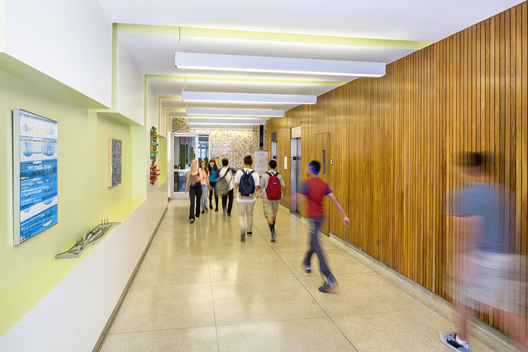 Modern mid-century Los Angeles school reuse hallway.