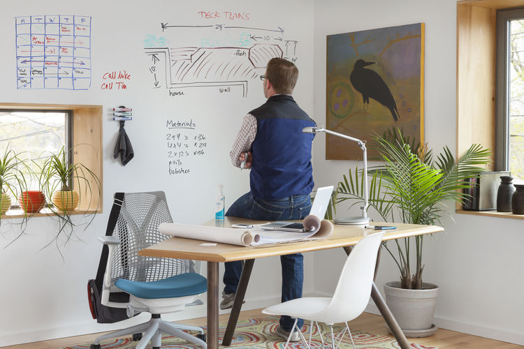 IdeaPaint wall in a home office