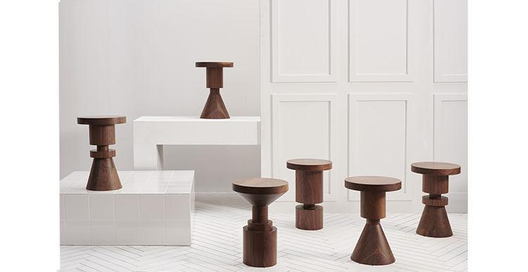 Walnut Chess Piece stools by Anna Karlin