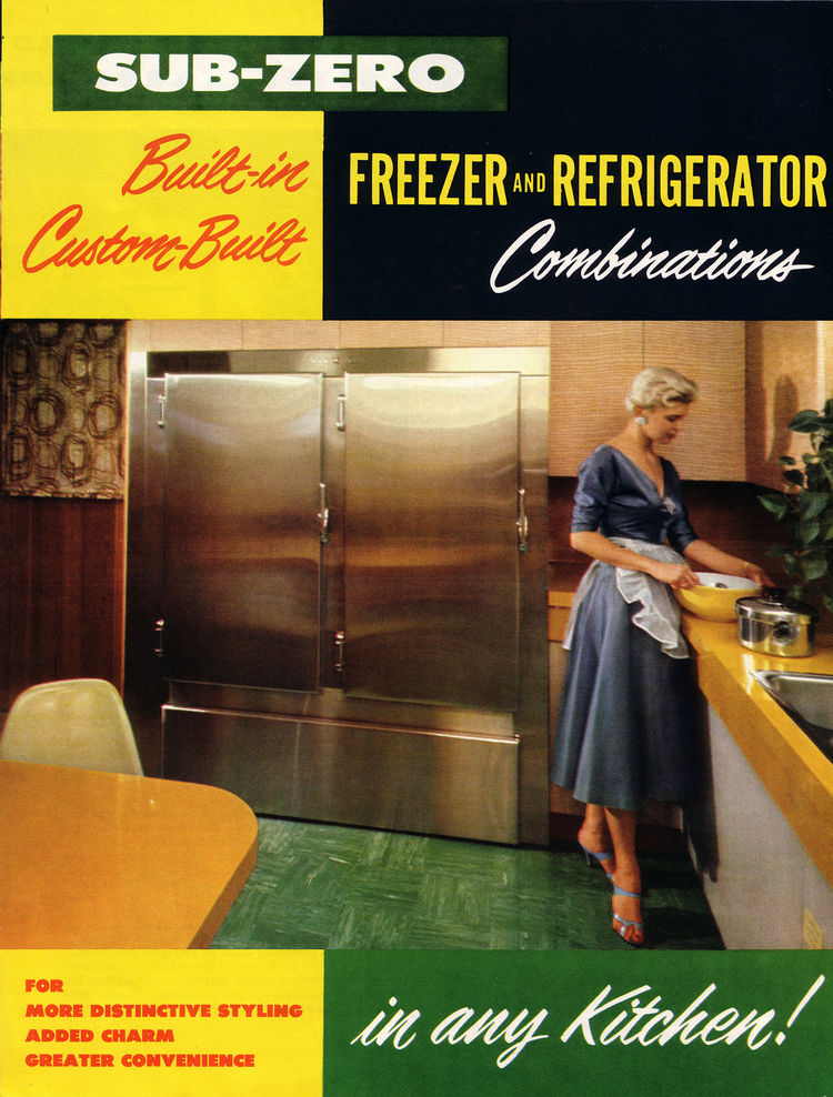Midcentury advertisement for a built-in Sub-Zero integrated freezer and refrigerator.