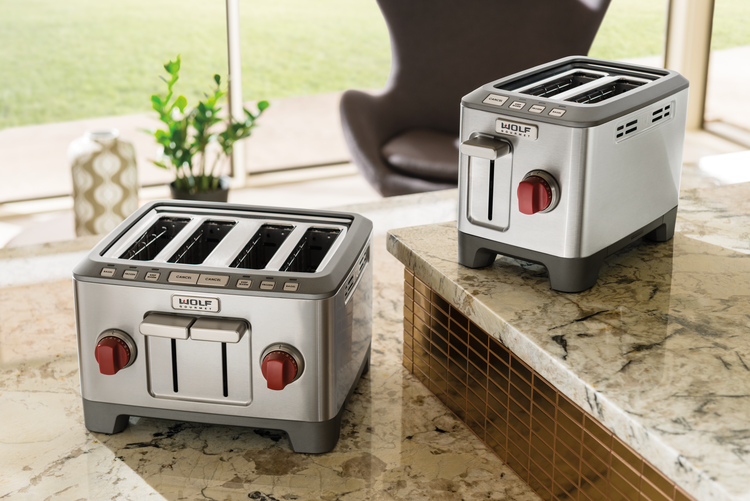 Wolf Gourmet 4-slice and 2-slice toasters are crafted with advanced toasting technology, and accommodate English muffins, golden toasted crumpets, brioche, or crisp and chewy bagels, as well as traditional bread slices.