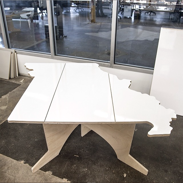 Baltic birch ply with dry erase surface table shaped like Missouri by Hufft Projects