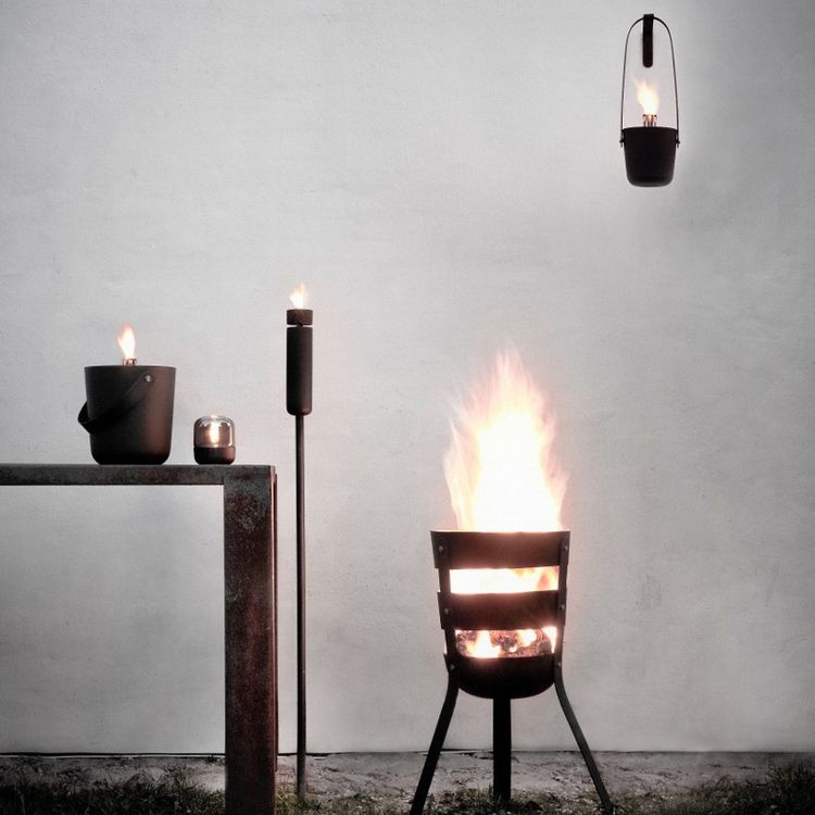 Oxidized steel fire basket, bucket, and torch series