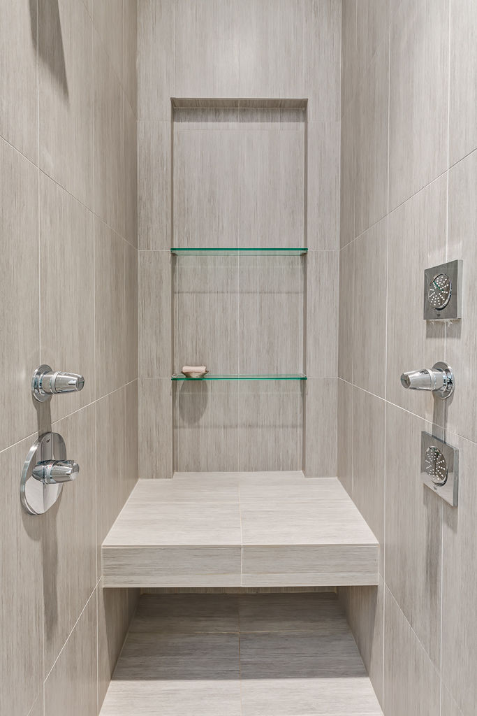 Ensuite shower in Calgary bungalow designed by DOODL.