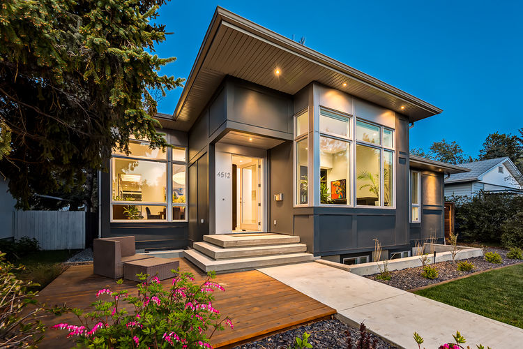 Hardie panel facade and entrance of Calgary home designed by DOODL.