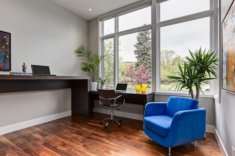 Office with standing desk in Calgary bungalow designed by DOODL.