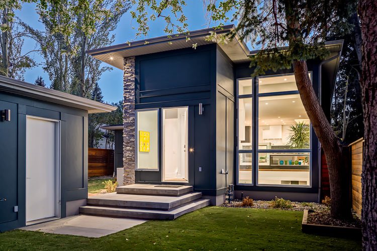 Rear and garage of Calgary bungalow designed by DOODL.