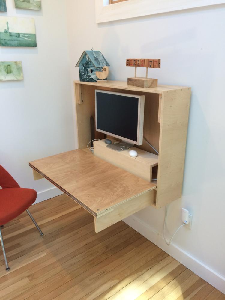 Custom wood fold-down desk